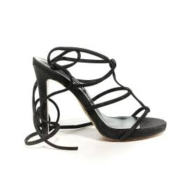 Francesco Milano sandal with slave laces and high heel black color article N16-3G-NEY