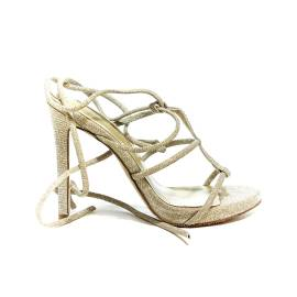 Francesco Milano sandal with slave laces and high heel in platinum color article N16-3G-PLY