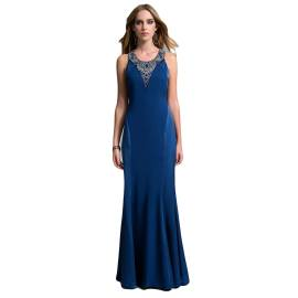 EDAS Luxury gown Sloven with gems on the chest, blue color