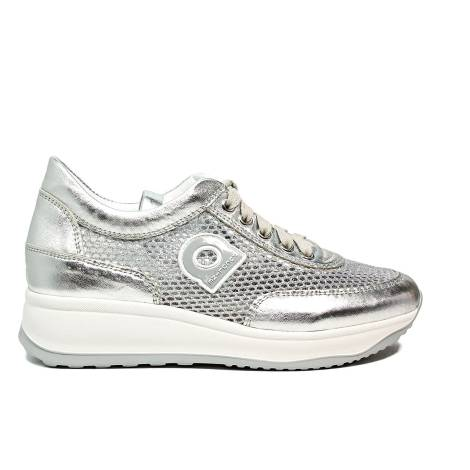 Agile by Rucoline perfored sneaker with wedge silver color article 1304-82983 1304 A NETLAM