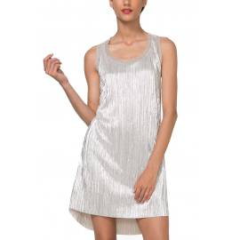 Desigual 71V2GC1 8010 silver short dress woman with lurex style
