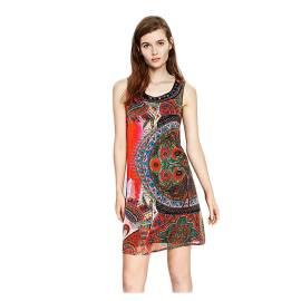 Desigual 73V2WK2 3036 short sleeved dress with ethnic print, multicolored