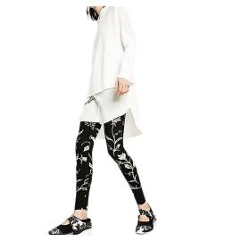 Desigual 73K2YA7 2000 black women's leggings with floral print in white contrast