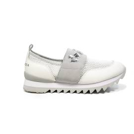 Apepazza white color loafer with grey band refined with stones article DLY32