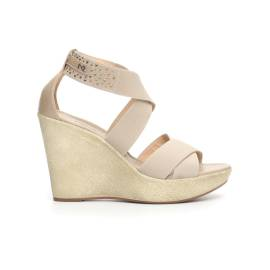 Nero Giardini women sandal with high wedge beige color article P717640D 412