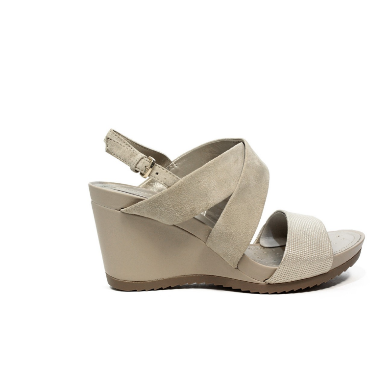 Geox sandal for women made in leather with taupe color bands article D72P3A  021SK CH62L 2e346c8d308