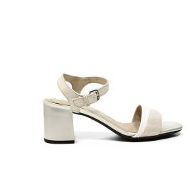 Geox sandalo with mid heel white and silve color article D724XB 0SKBC C0434