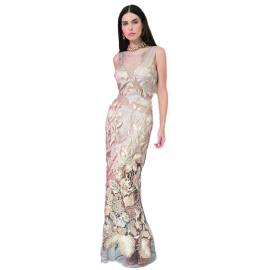 EDAS LUXURY RIACCIO long dress woman with inlays and embroidery GOLD color