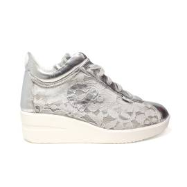 Agile by Rucoline sneaker woman with wedge decorated with floral lace silver ARTICLE 226 IN PIZZO GELSO