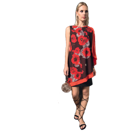 EDAS Luxury Slimer Short woman dress with poppies print
