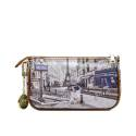 Y NOT? clutch bag ART.G-312 MP woman portraying Paris, the Metro and the Eiffel Tower, with double shoulder strap and key chain
