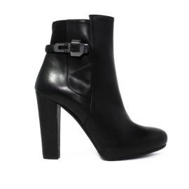 Albano ankle boots 2145 90 gro vitello black leather with zip and buckle, listings on both