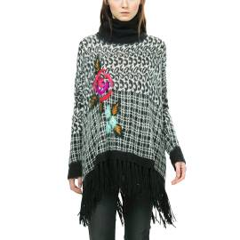 Desigual poncho woman 67J21M2 2029 ari black and white color, textured in leopard spots and scottish