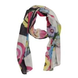Desigual scarf 41W5729 2000 with floral prints and signature desigual, multicolored