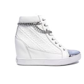 Guess white sneaker with inner wedge article FLFRI1 LEA12 WHITE furia leather