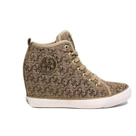 Guess beige sneaker with logo fabric and inner wedge article FLJIL1 FAL12
