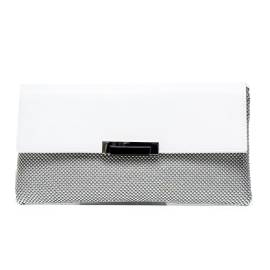 Lancetti 5238 women faux leather clutch with rhinestone white color