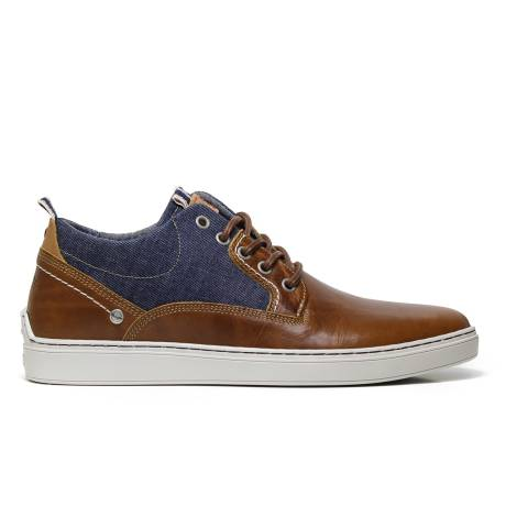 Wrangler WM171060 sneakers man cognac-colored ecoleather and fabric