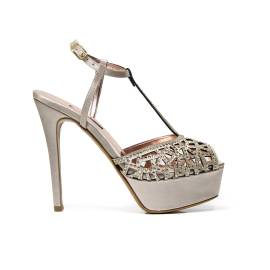 Albano 1737 elegant woman sandal with insert mosaic with gems, beige