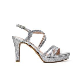 Albano 8897 sandal elegant woman with texture square silver