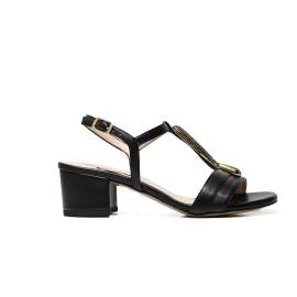 Albano 9697 elegant woman sandal black, with application central gold