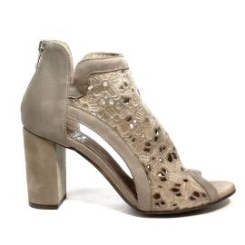 Just Juice ankle boot in lace nabuk fabric and leather taupe color article FK567X112E