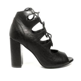 Just Juice woman ankle boot with high heel studded leather with laces black color article FK473X3