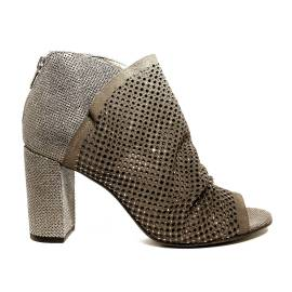 Just Juice ankle boot in suede leather taupe color with stones platinum color article FK567H17