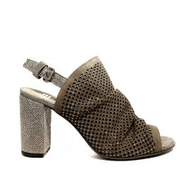 Just Juice sandal in suede leather with high heel taupe color article FK567H21