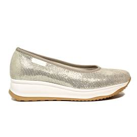 Agile by Rucoline ballat shoe with wedge platinum color article 0136-83049 136 A Sambuco Rind