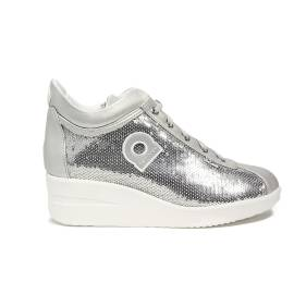 Agile by Rucoline sneaker with wedge silver color with paillettes article 0226-83032 226 A DORA STAR