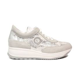Agile by Rucoline laced sneaker with wedge silver color article 1304-83012 1304 A MICRO RIND