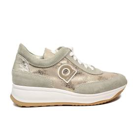 Agile by Rucoline laced sneaker with wedge gold color article 1304-83012 1304 A MICRO RIND