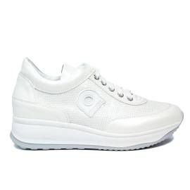 Agile by Rucoline laced sneaker with paillette and wedge white color article 1304-83032 1304 A DORA STAR