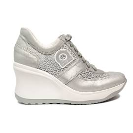 Agile by Rucoline sneaker for women with high wedge silver color article 1800-82984 A DALIDA NET 1215
