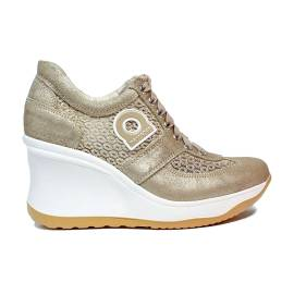Agile by Rucoline sneaker for women with high wedge gold color article 1800-82984 A DALIDA NET 1215