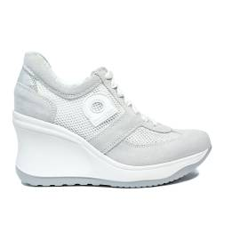 Agile by Rucoline sneaker for women traforata with high wedge white color article 1800-83014 1800 A AT 627 RIND