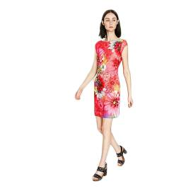 Desigual 73V2EX2 3002 short dress woman with red floral print
