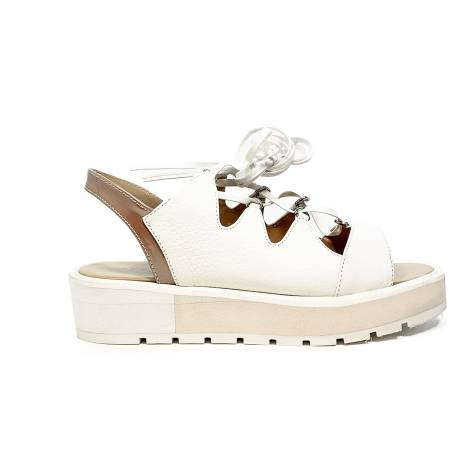 Apepazza low sandal glittered with laces off white color article DLS03