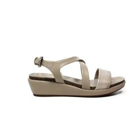 Geox sandal for women made in leather with bands champagne color article D72P6A 0BCSK CH6B5