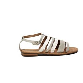 Geox low sandal for women made in leather white and silver color article D722CE 0QMPE C0434