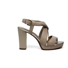 Geox sandal for women with high heels made in leather with beige and gold color bands article D724LD 085WF C981G