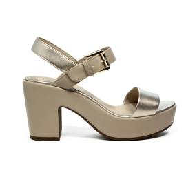 Geox sandal for women with high heels made in leather with beige color bands article D724SA 0AJ54 C2LH6