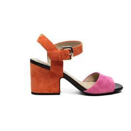 Geox sandal with mid high heels orange and pink color article D724UB 00021 CE82T