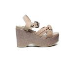 Francesco Milano Suede sandal with powder glittered wedge articleN10-23T