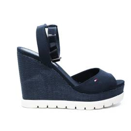 Tommy Hilfiger Sandal with high wedge blu article FW0FW00695/403