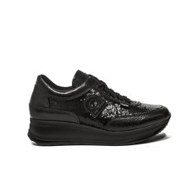 Agile by rucoline sneaker medium wedge with sequins black color article 1304 a tarsia