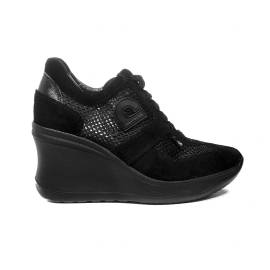 Agile by Rucoline sneaker perforated Woman black in color with high Wedge Article 1800 TO CHAMBERS SOFT BLACK